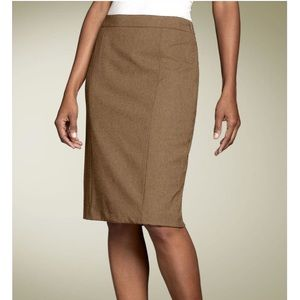 Lafayette148 Stretch Wool Khaki Pencil Skirt